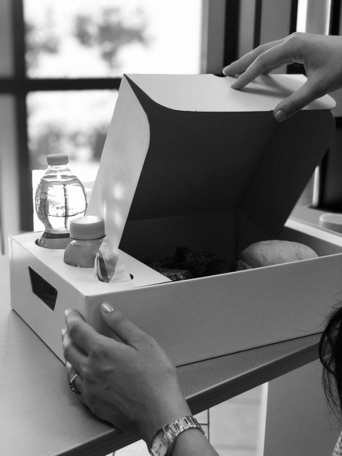 Emily Tray Marber - Vassoio con coperchio in cartone per trasportare vivande